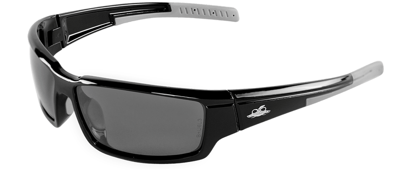 Bullhead BH145712  Silver Mirror Polarized Lens, Shiny Black Frame Safety Glasses (Pack of 12)