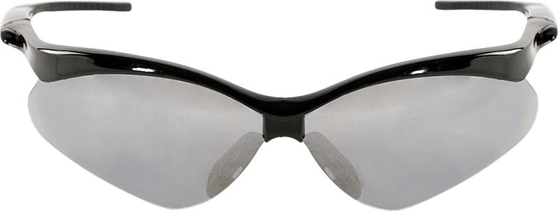 Silver Mirror Lens, Shiny Black Frame Safety Glasses - BH2257E (Case of 144)