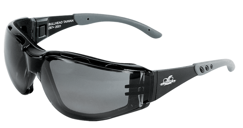 Bullhead BH3063PFT Smoke Performance Fog Technology Lens, Matte Black Frame Convertible Safety Goggles (Pack of 12)