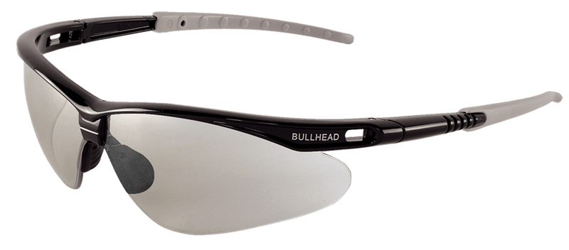 Bullhead BH666 Indoor/Outdoor Lens, Shiny Black Frame Safety Glasses (Pack of 12)