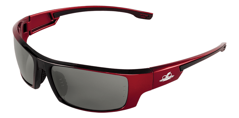 Bullhead BH9117 Silver Mirror Lens, Red to Black Frame Safety Glasses (Pack of 12)