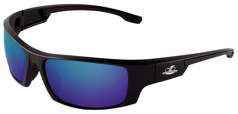 Bullhead BH969 Blue Mirror Lens, Matte Black Frame Safety Glasses (Pack of 12)