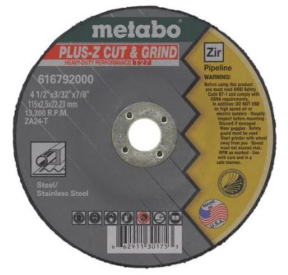 "Metabo US616792000 4 1/2"" X 1/8"" X 7/8"" - ZA24T Pipeliner Plus-Z, 8 Pcs/Pack (Pack of 25)"