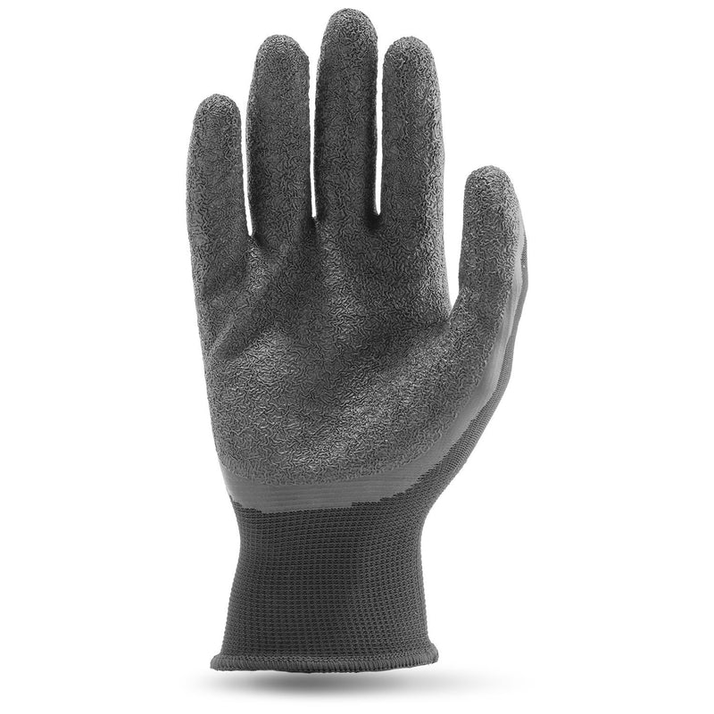 Lift Safety G15PCL-00 CRINKLE LATEX PALM Black 13g Polyester Knit Glove with Latex Palm(Cases of 7 Packs)