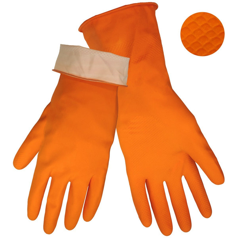Global Glove 180F Orange 18 Mil Flock-Lined Latex Diamond Pattern Grip Unsupported Gloves (Case of 144 Pairs)