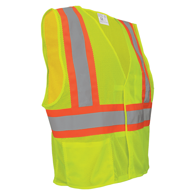 HV Yellow/Green Lightweight Mesh Vest with Orange Contrasting Trim - GLO-002V (Case of 50)
