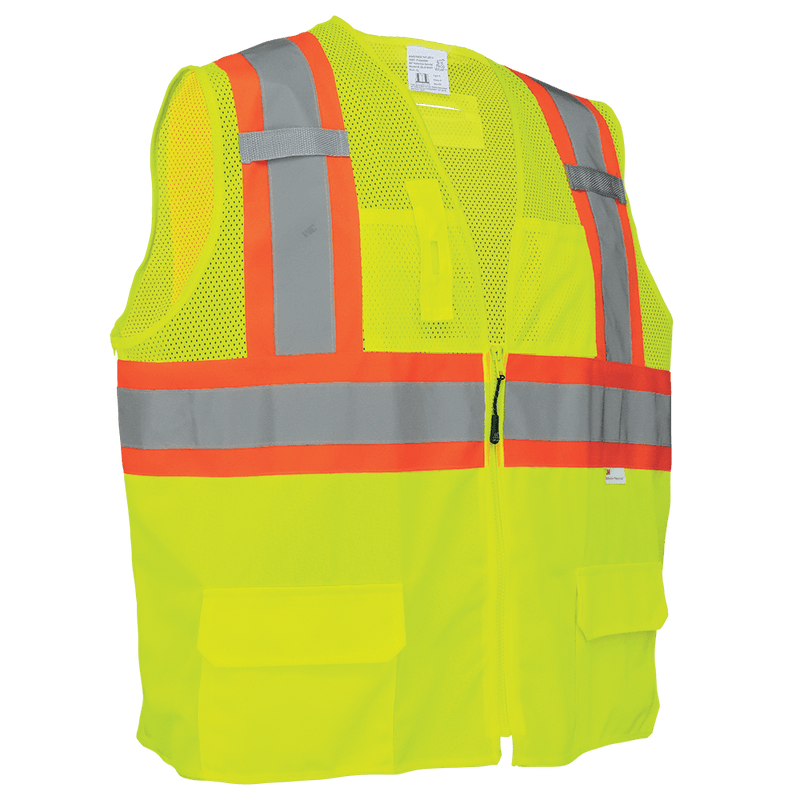 Global Glove GLO-0037 HV Solid and Mesh Polyester High-Visibiliy Yellow/Green Surveyors Safety Vest (Case of 50)