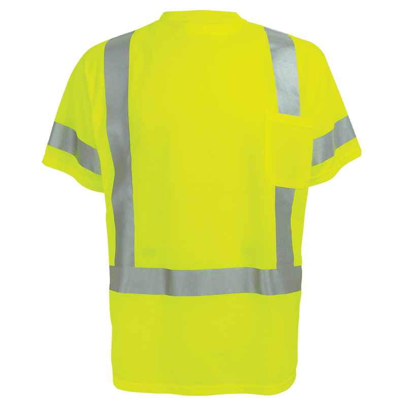 Global Glove GLO-018 HV Self-Wicking High-Visibility Yellow/Green Short Sleeved Shirt with Reflective (Case of 25)