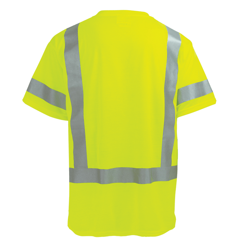 HV Self-Wicking High-Visibility Yellow/Green Short Sleeved Shirt with Reflective - GLO-018 (Case of 25)