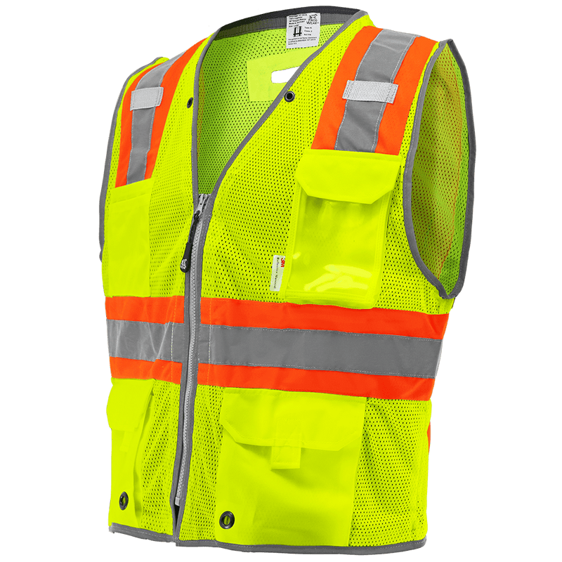 HV Mesh Polyester Surveyors Safety Vest - GLO-067 (Case of 50)
