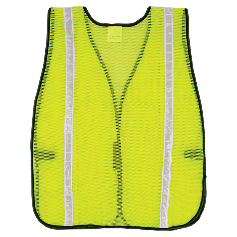 Global Glove GLO-10-G-1IN HV High-Visibility Yellow/Green Economy Mesh Safety Vest with Reflective  (Case of 50)