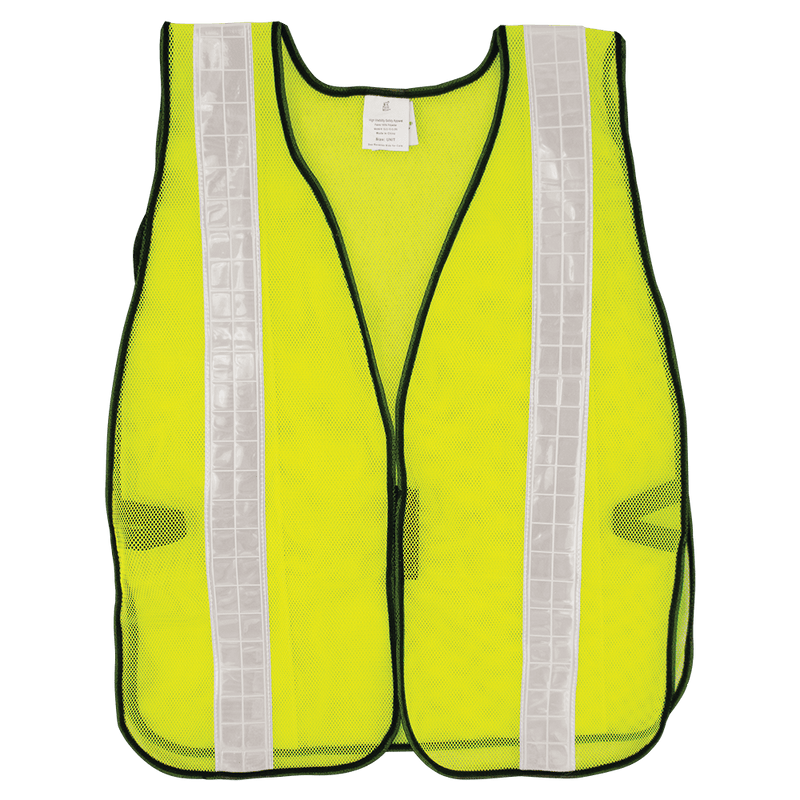 Global Glove GLO-10-G-2IN HV High-Visibility Yellow/Green Economy Mesh Safety Vest with Wide Reflective  (Case of 50)