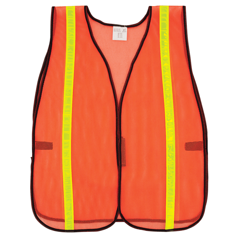 HV High-Visibility Orange Economy Mesh Safety Vest with Reflective - GLO-10-O-1IN (Case of 50)