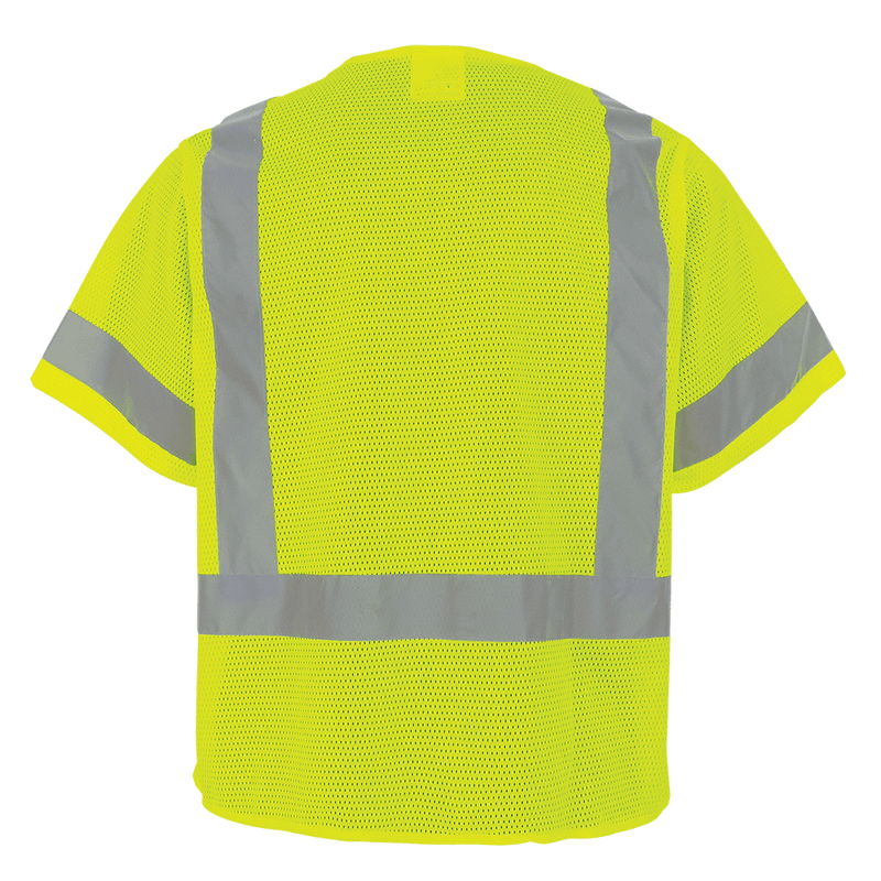 Global Glove GLO-11V HV High-Visibility Mesh Polyester Short Sleeved Safety Vest with Hook-and-Loop Closure  (Case of 50)