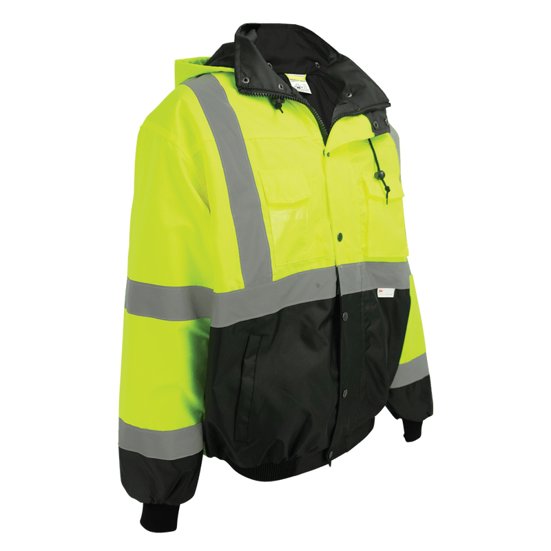 HV High-Visibility Black Interior Winter Bomber Jacket - GLO-EB1 (Case of 10)