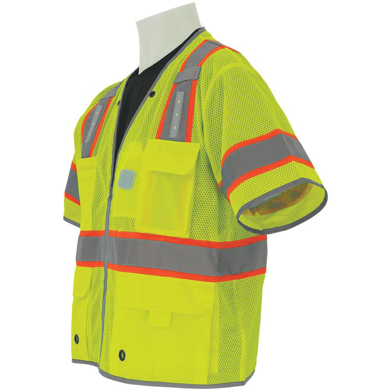 Global Glove GLO-315LED HV Premium Surveyors LED Safety Vest with Sleeves (Case of 25)
