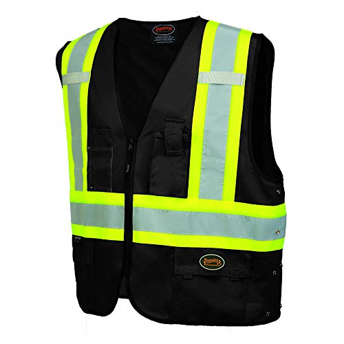 Pioneer V1021571U-S-5XL Black High Visibility Solid Traffic Safety Vest Unisex(Case Of 25 Pcs)