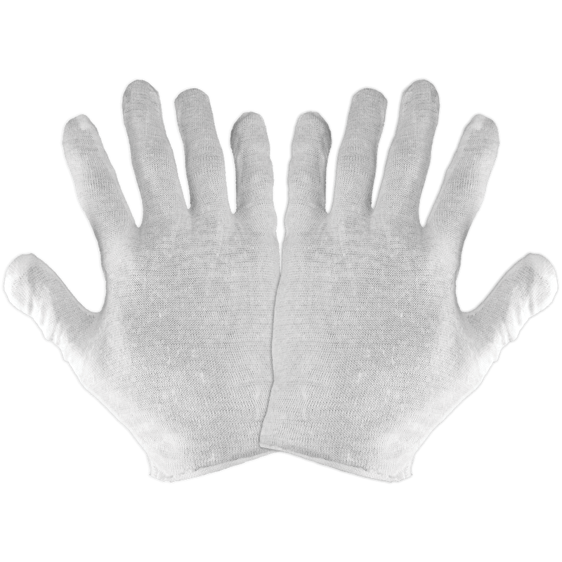 Global Glove L100PC Bleached White Lightweight Reversible Seamless Polyester/Cotton Gloves (100 Dozen Pair)