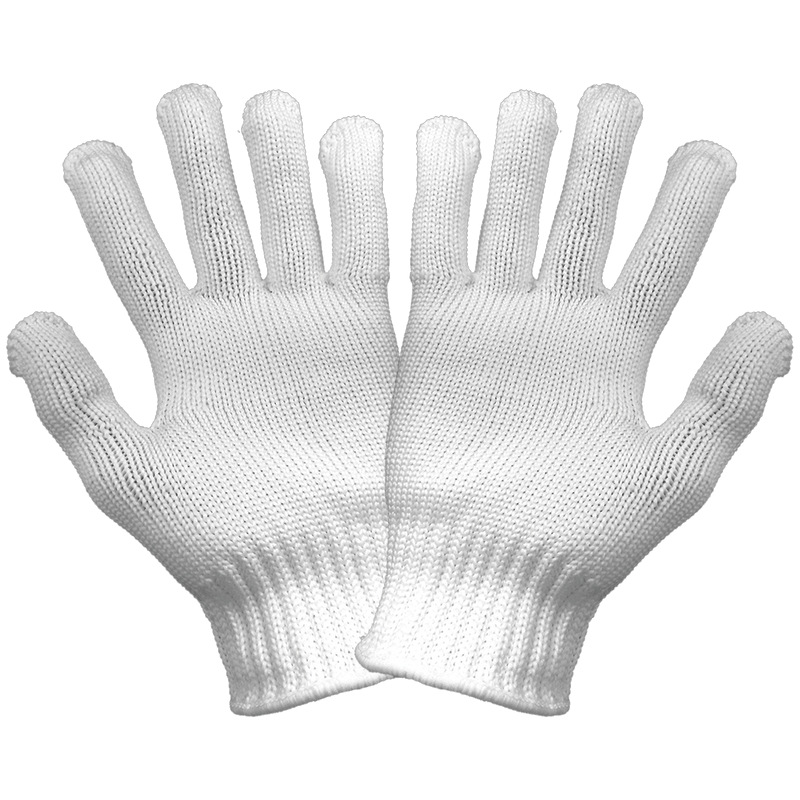 Heavyweight Bleached White Nylon Knit Seamless Gloves - N960 (Pack of 25)