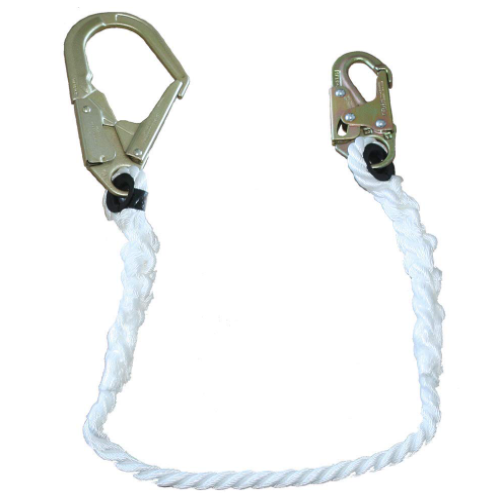 PeakWorks V8151203 Fall Protection Restraint Lanyard with Rope, Snap and Form Hooks, 3 ft. Length (Case Of 5 Pcs)