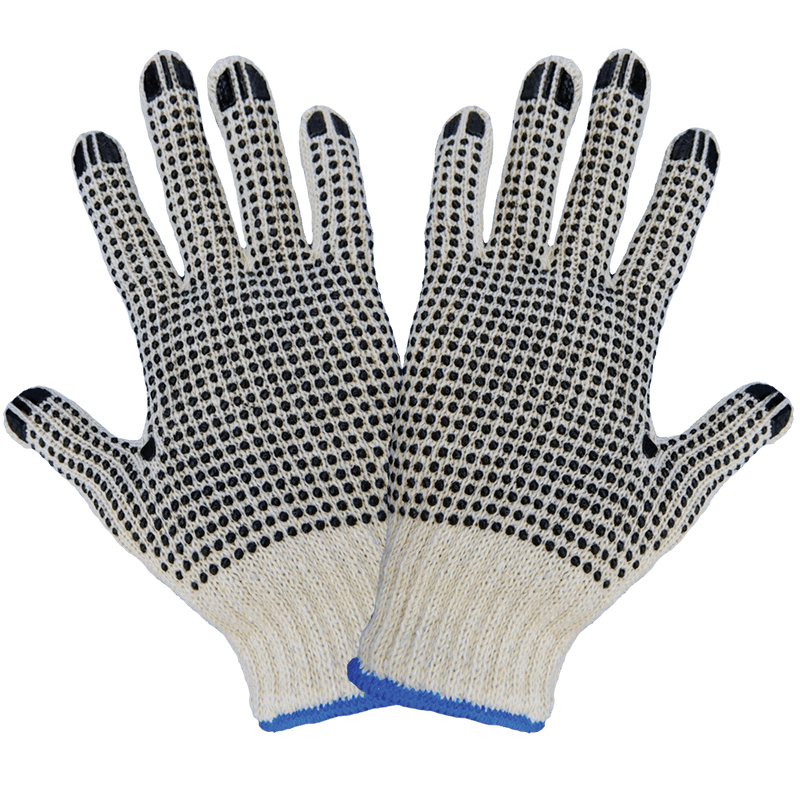 Standard Polyester/Cotton PVC Two-Sided Dotted Gloves (Case of 300)