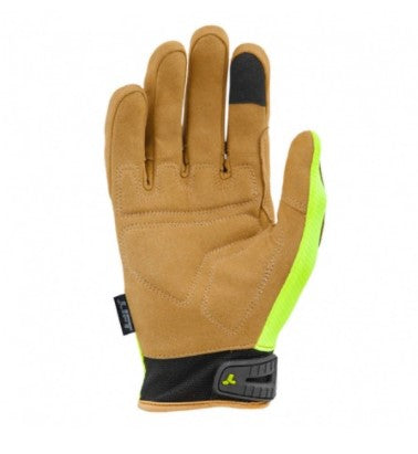 Lift Safety GON-17HVBRS OPTION Glove (Hi-Viz)- Synthetic Leather with Air Mesh(Case of 8 Packs)