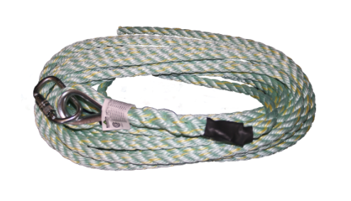 PeakWorks V84013025 Vertical Lifeline - Carabiner & Back Splice - 25' (7.6 M) (Case Of 10 Pcs)