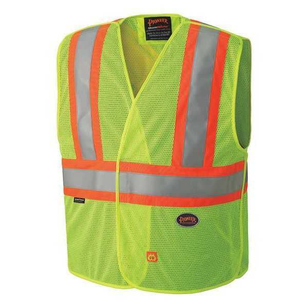 Pioneer V2510860U High Quality Polyester Flame Resistant Safety Vest Yellow Green (Case Of 25 Pcs)
