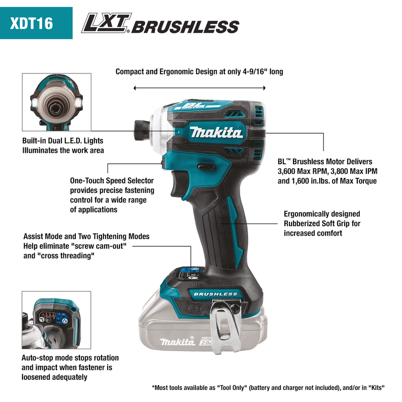 18V LXT® Lithium‑Ion Brushless Cordless Quick‑Shift Mode™ 4‑Speed Impact Driver, Tool Only (Box of 4)