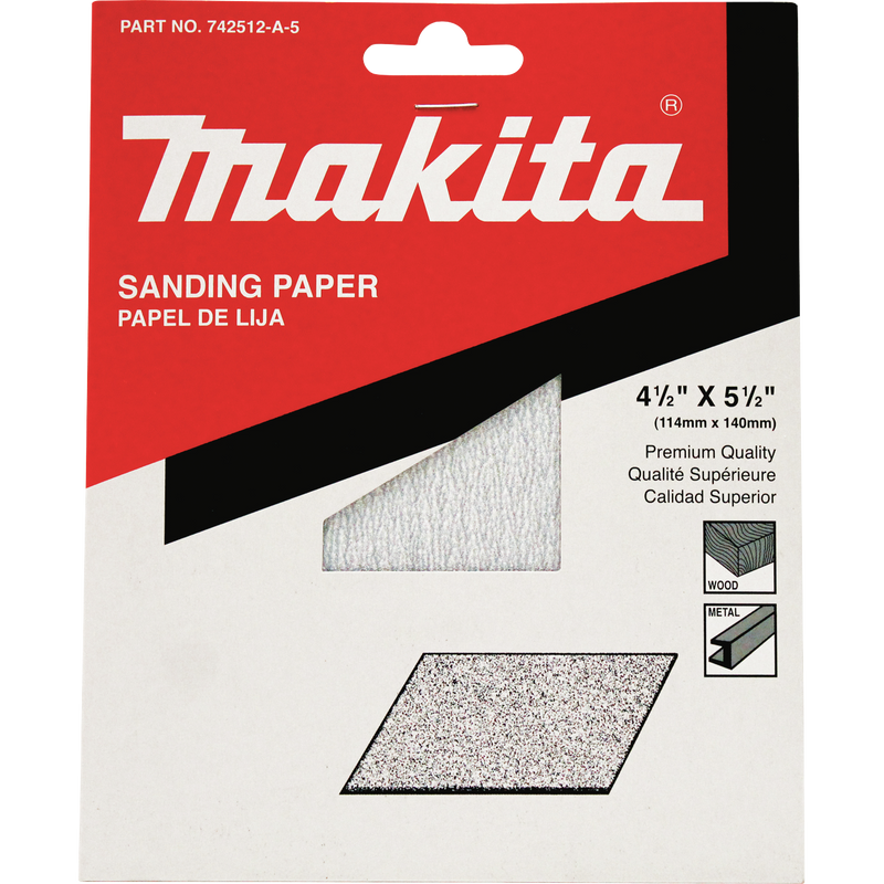 "4-1/2"" x 5-1/2"" Abrasive Paper, 180 Grit, 5/pk (Pack of 120)"