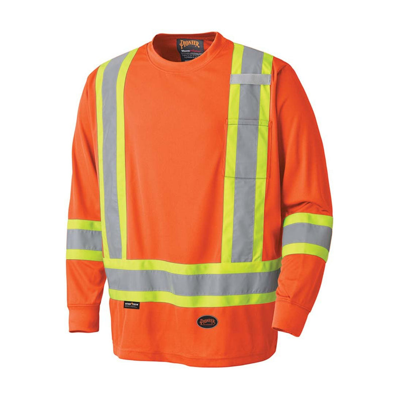 Pioneer V1051250U-S Hi-Viz Birdseye Long-Sleeved Safety Shirt(Case Of 24 Pcs)