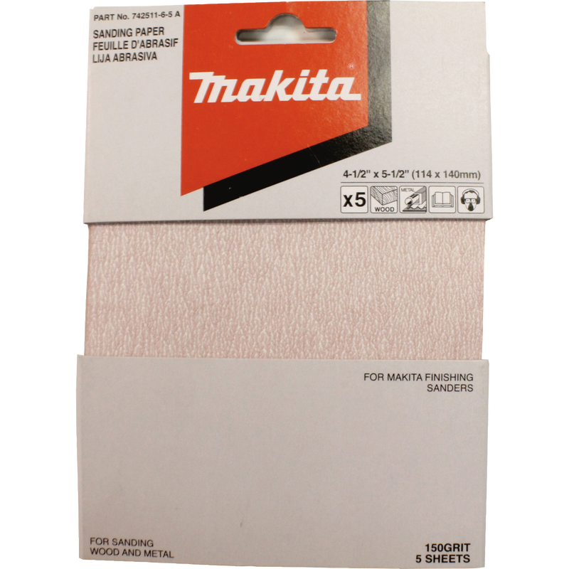 "Makita 742511-6-5 4-1/2"" x 5-1/2"" Abrasive Paper, 150 Grit, 5/pk (Pack of 120)"