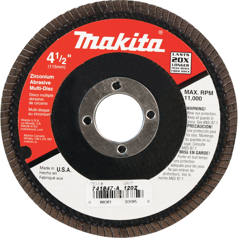 "Makita 741847-A 4-1/2"" x 7/8"" Multi-Disc, 120 Grit, Angled Type 29(Pack of 6)"