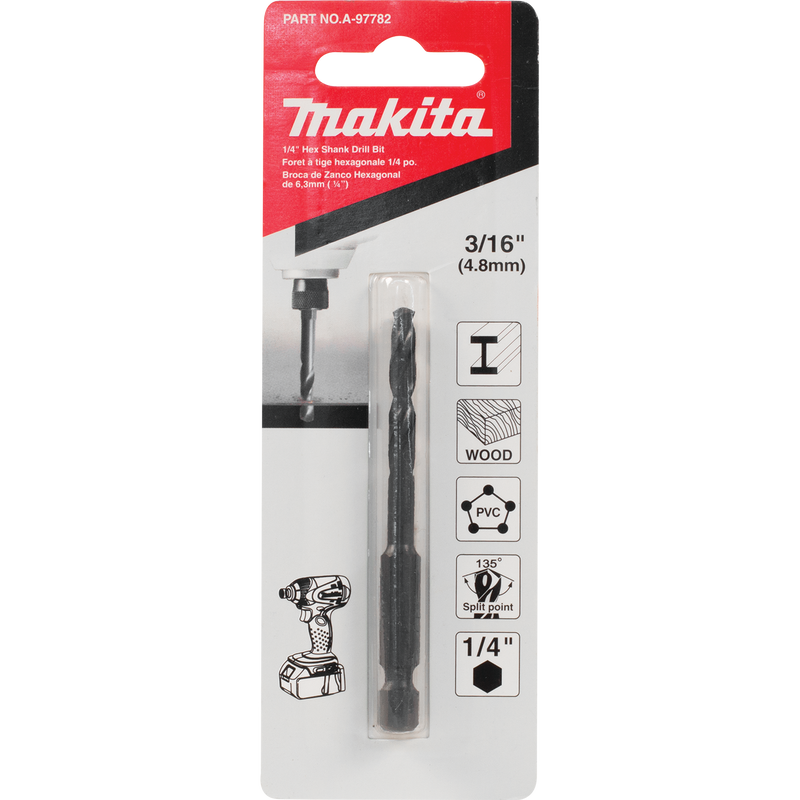 "Makita A-97782 3/16"" Black Oxide Drill Bit, 1/4"" Hex Shank (Pack of 200)"