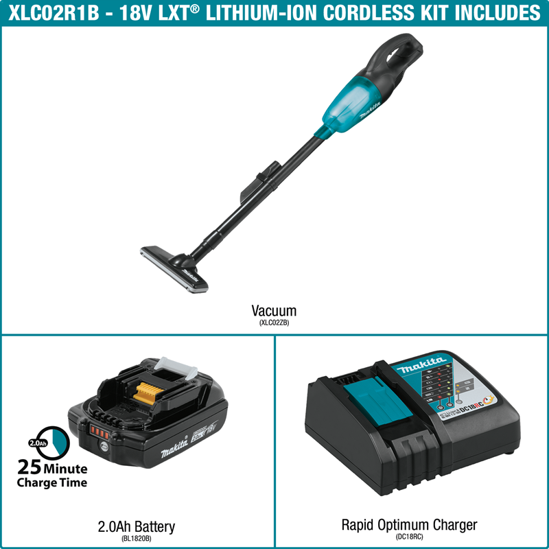 Makita XLC02R1B PROMO 4 ITEMS!!!  18V LXT® Lithium‑Ion Compact Cordless Vacuum Kit (2.0Ah) (Pack of 4)