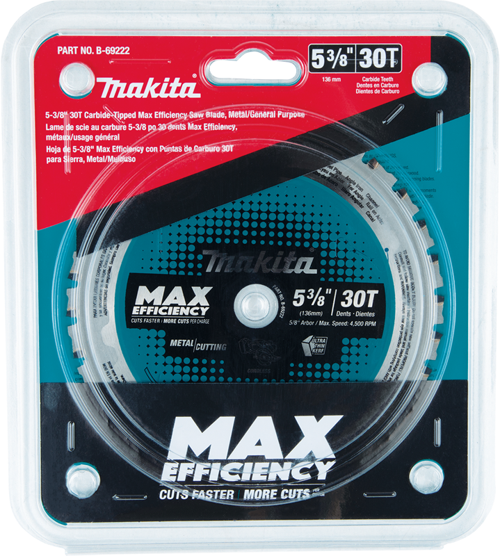 "Makita B-69222 5‑3/8"" 30T Carbide‑Tipped Max Efficiency Saw Blade, Metal/General Purpose (Pack of 50)"