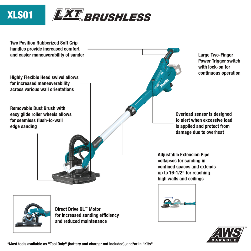 18V LXT® Lithium‑Ion Brushless Cordless Drywall Sander, AWS™ Capable, Tool Only