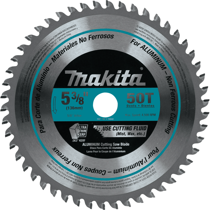 "Makita A-95940 5-3/8"" 50T Carbide-Tipped Ultra-Thin Kerf Saw Blade, Aluminum (Pack of 50)"