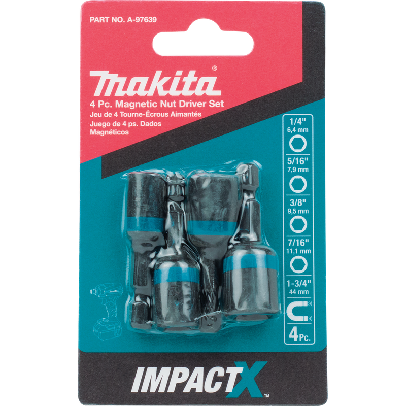 Makita A-97639 ImpactX™ 4 Pc. 1‑3/4″ Magnetic Nut Driver Set(Pack of 100)