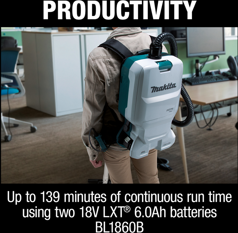 18V X2 (36V) LXT® Lithium‑Ion Brushless Cordless 1.6 Gallon HEPA Filter Backpack Dry Vacuum (6.0Ah)
