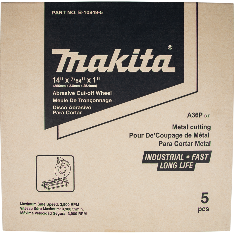 "Makita B-10849-5 14"" x 7/64"" x 1"" Abrasive Cut‑Off Wheel (Pack of 2)"
