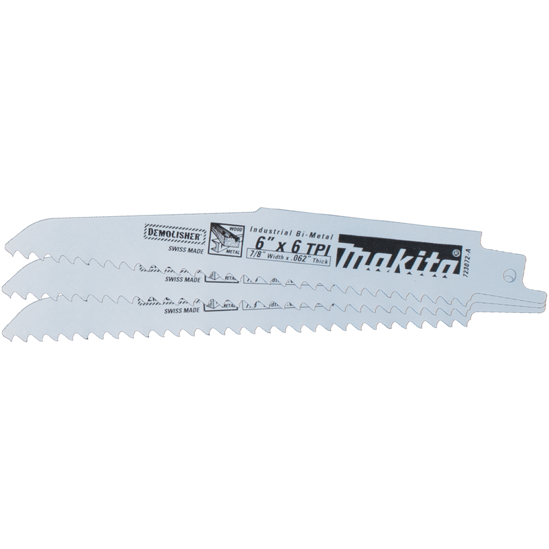 "Makita 723072-A-3 6"" Demolition Recipro Saw Blade, 6TPI, 3/pk (Pack of 100)"