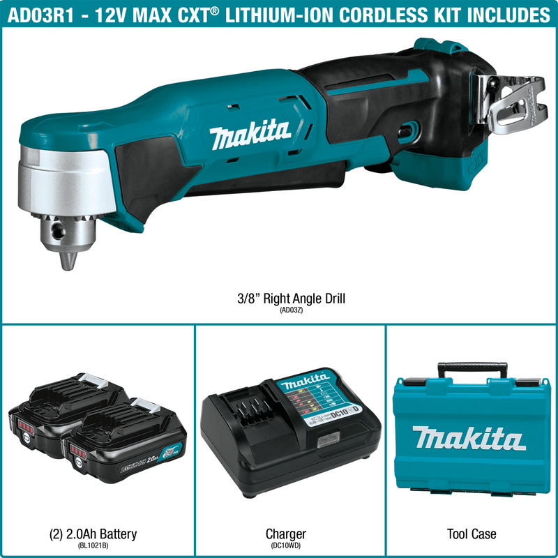 "12V max CXT® Lithium‑Ion Cordless 3/8"" Right Angle Drill Kit (2.0Ah) (Pack of 2)"