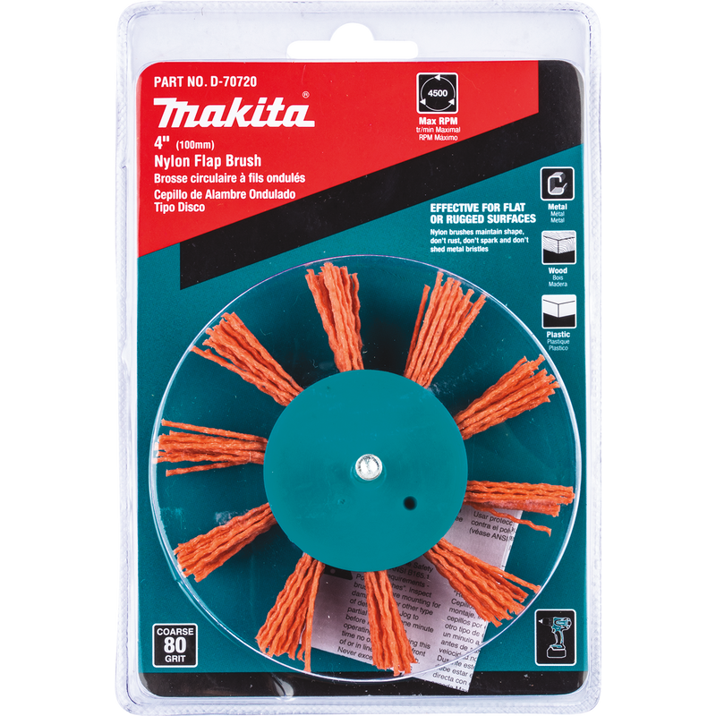 "Makita D-70720 4"" Nylon Flap Brush, Coarse, 80 Grit (Pack of 120)"