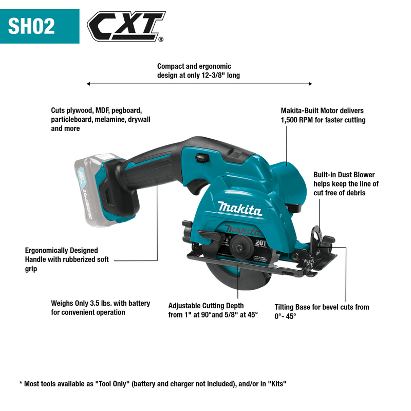 "12V max CXT® Lithium‑Ion Cordless 3‑3/8"" Circular Saw, Tool Only (Pack of 4)"
