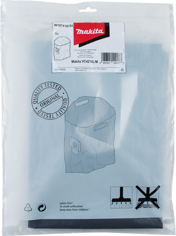 Makita W107418355 Plastic Disposal Bag, 5/pk, VC4210