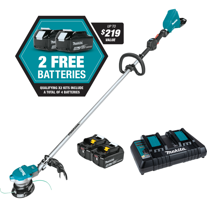 18V X2 (36V) LXT® Lithium‑Ion Brushless Cordless String Trimmer Kit with 4 Batteries (5.0Ah)