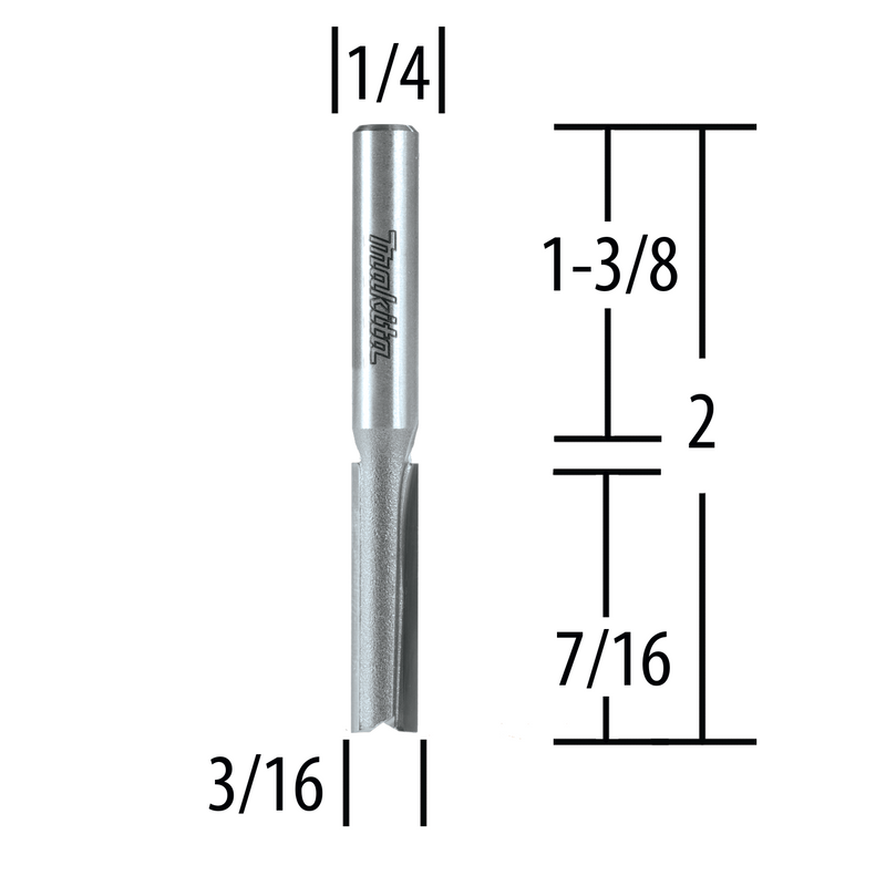 "Makita 733003-2A 3/16"" Straight, 2 Flute, C.T. Router Bit, 1/4"" Shank, 7/16"" Cut (Pack of 2)"