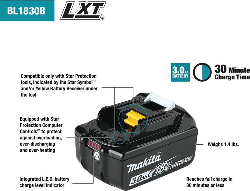 Makita BL1830B-10 18V LXT® Lithium‑Ion 3.0Ah Battery