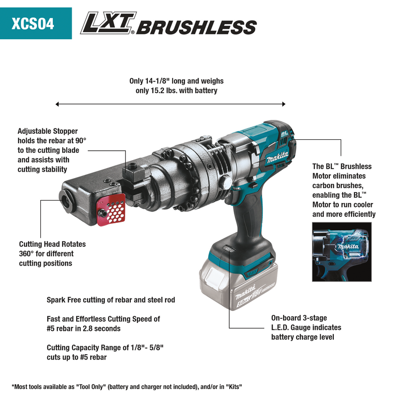 18V LXT® Lithium‑Ion Brushless Cordless Rebar Cutter, Tool Only